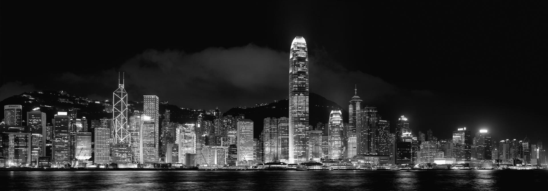 Hongkong Skylines Panoramic black and white